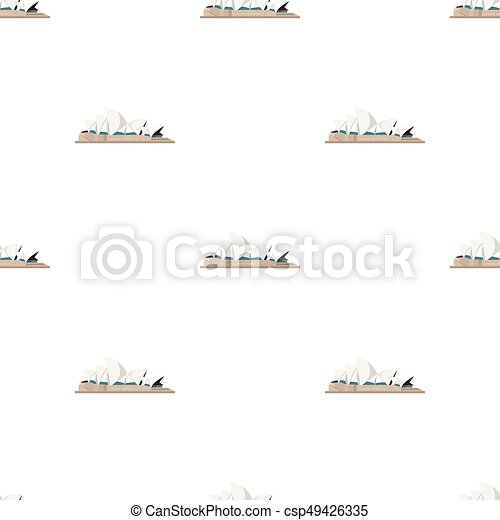 Sydney Opera House icon in cartoon style isolated on white background. Countries symbol stock vector illustration. - csp49426335