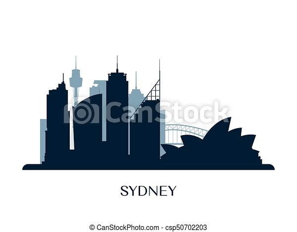 Sydney skyline, monochrome silhouette. - csp50702203