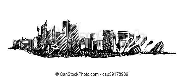 Sydney skyline vector hand drawing - csp39178989