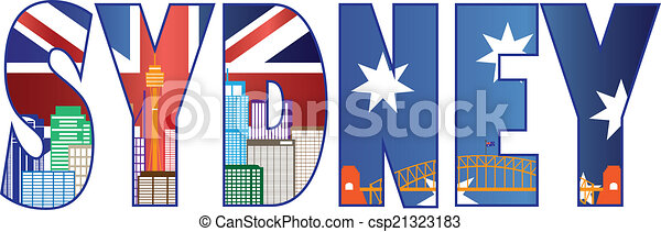 Sydney Text Outline with Skyline Color Illustration - csp21323183