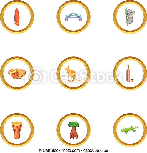 Sydney zoo icons set, cartoon style - csp50567569