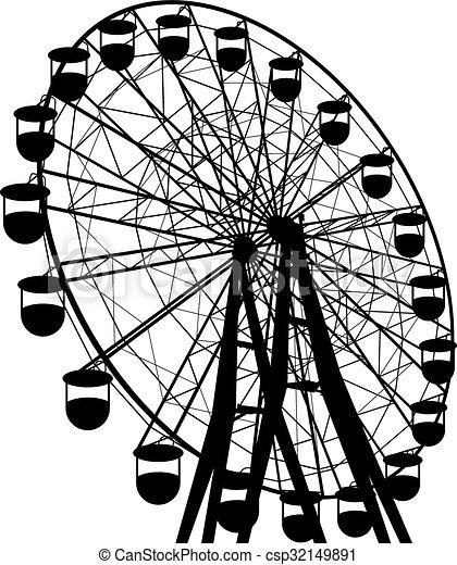 sylwetka, barwny, wheel., atraktsion, ilustracja, ferris, wektor - csp32149891
