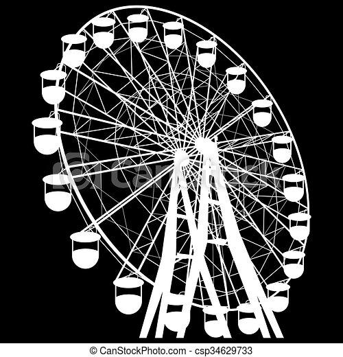 sylwetka, barwny, wheel., atraktsion, ilustracja, ferris, wektor - csp34629733