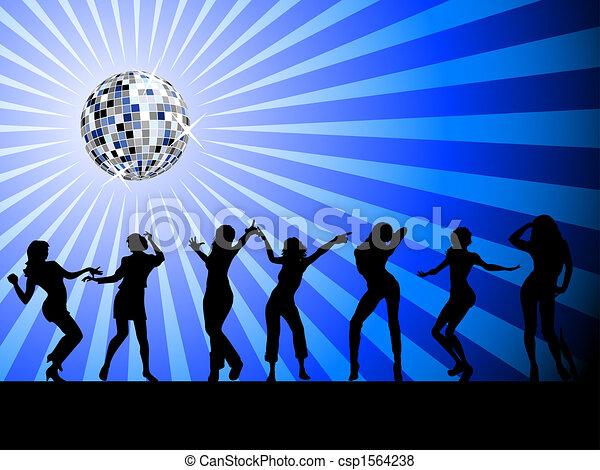 sylwetka, dancefloor, ludzie, taniec - csp1564238