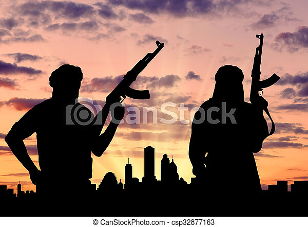 sylwetka, dwa, terroryści - csp32877163