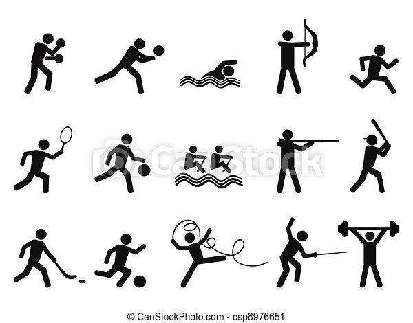 sylwetka, ikona, ludzie, sport - csp8976651