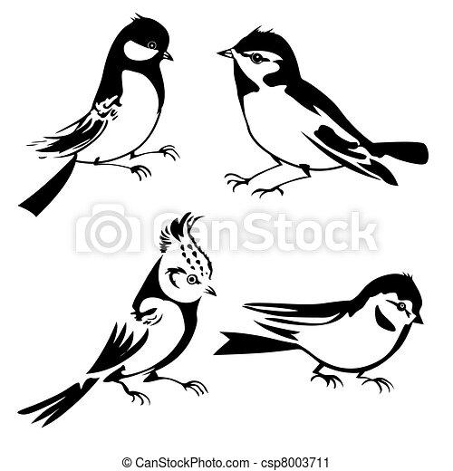 sylwetka, ilustracja, tło, wektor, biały, ptaszki - csp8003711