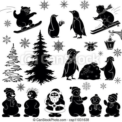 sylwetka, komplet, czarnoskóry, rysunek, boże narodzenie - csp11031638