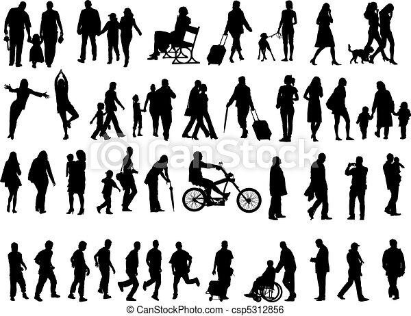 sylwetka, ludzie, na, 50 - csp5312856