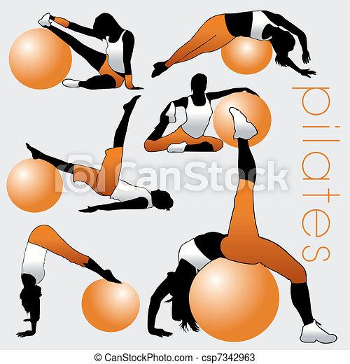 sylwetka, pilates, komplet - csp7342963