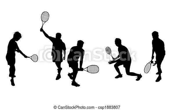 sylwetka, tenis, odizolowany - csp1883807