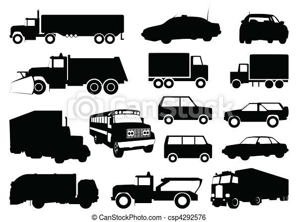 sylwetka, wektor, cars., ilustracja, zbiór - csp4292576