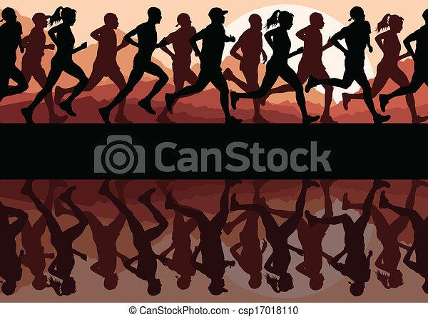 sylwetka, wyścigi, wektor, biegacze, tło, maraton - csp17018110
