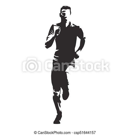sylwetka, wyścigi, wektor, przód, człowiek, prospekt - csp51644157