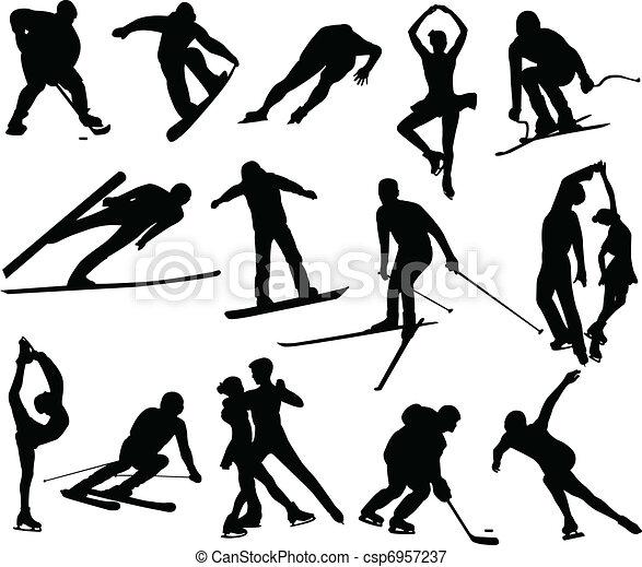 sylwetka, zima sport - csp6957237