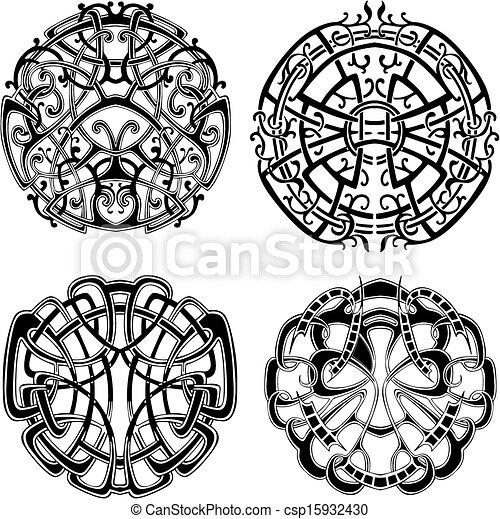 symétrique, noeud, motifs - csp15932430