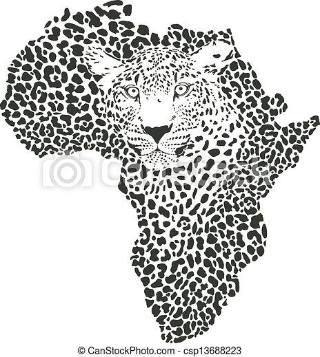 Symbol Africa in leopard camouflage - csp13688223