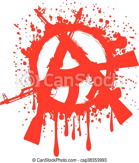 Vector Illustration Gun Machines And Red Symbol Anarchy For Design