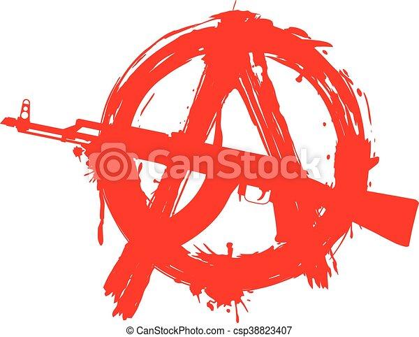 symbol anarchy in circle and machine gun - csp38823407