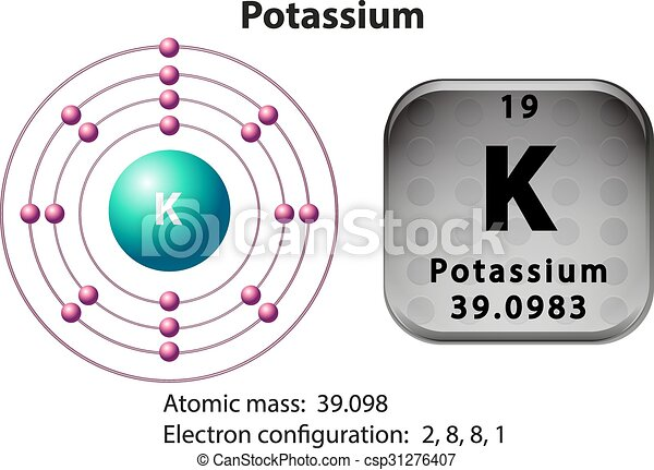 Symbol And Electron Diagram For Potassium Illustration