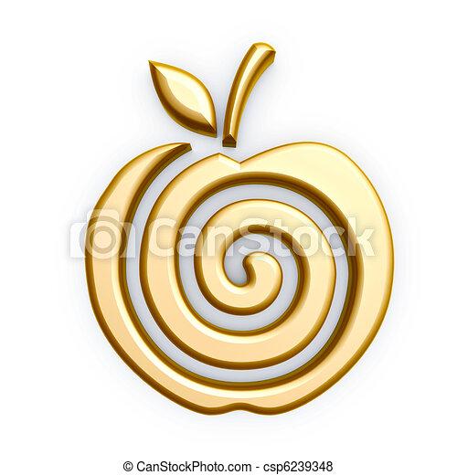 symbol, apfel, gold - csp6239348