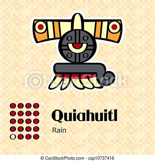 symbol, aztekisk, quiahuitl - csp10737416