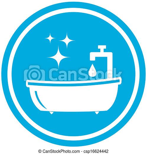 Symbol, -, badezimmer, hygiene, ikone. Blaues, badezimmer ...