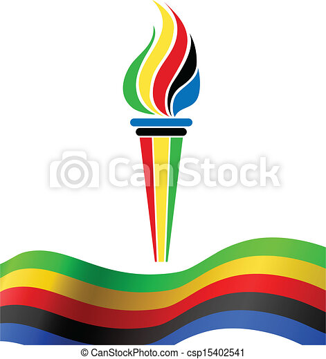 symbol, bandera, pochodnia, olimpijski - csp15402541