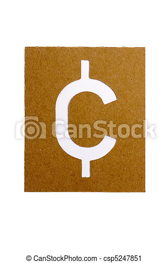 Symbol Cent Cardboard Stencil Symbol Cent For The Replication Of