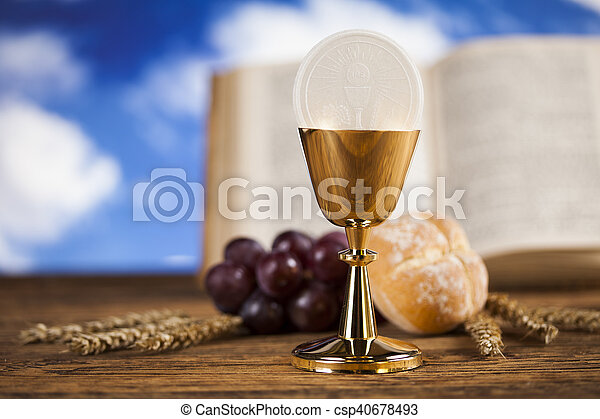symbol christianity religion a golden chalice with grapes and bread