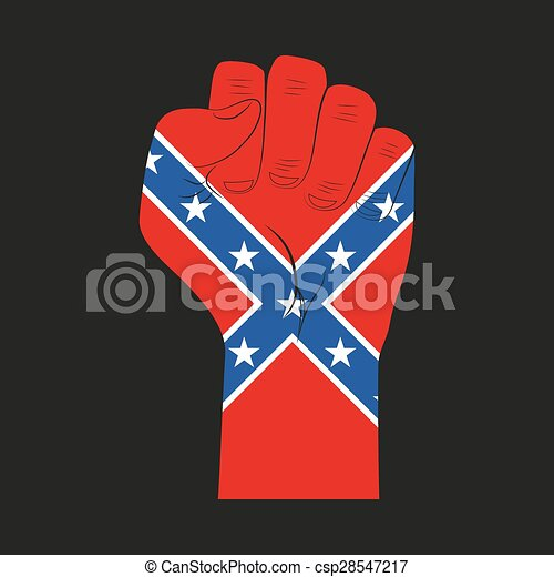 Symbol Clenched Fist Held In Protest With Confederate Flag