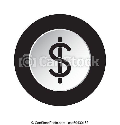 symbol dolara, -, waluta, czarnoskóry, biały, okrągły, ikona - csp60430153