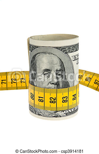 Symbol economy package with dollar bill and tape measure - csp3914181