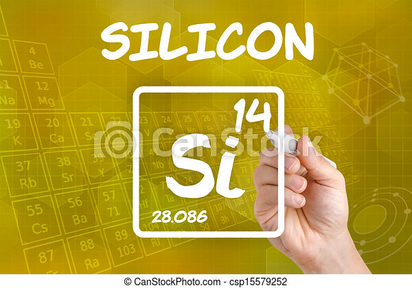 Symbol for the chemical element silicon - csp15579252