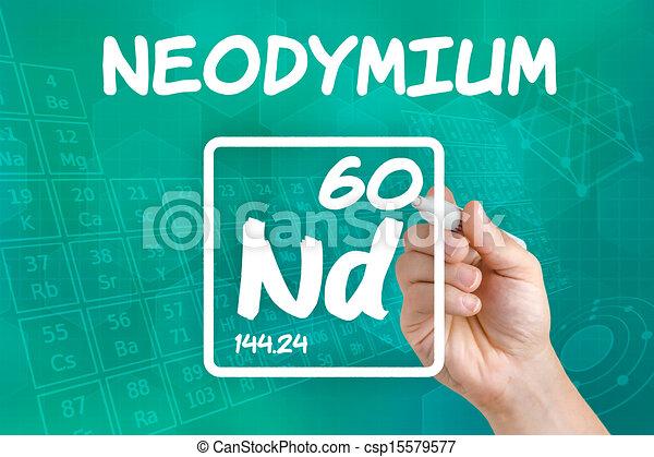 Symbol For The Chemical Element Neodymium Stock Illustrations