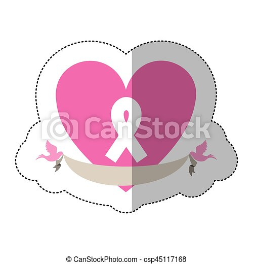 Symbol Heart With Breast Cancer Ribbon And Doves Vector Clip Art