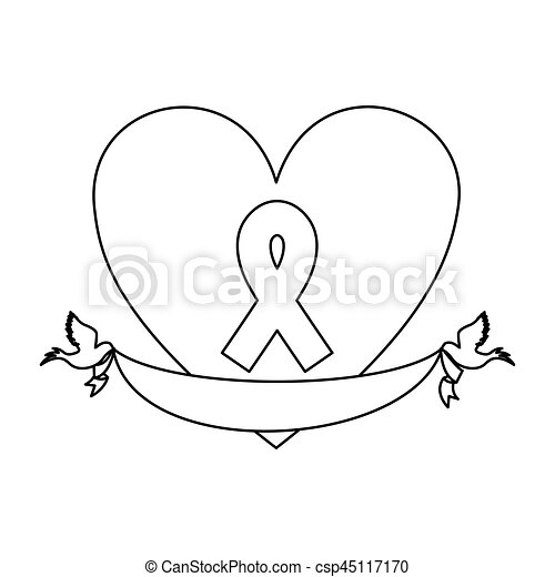 Symbol Heart With Breast Cancer Ribbon And Doves Vector Vectors