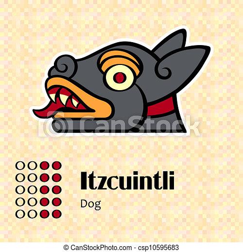 symbol, itzcuintli, aztekisk - csp10595683