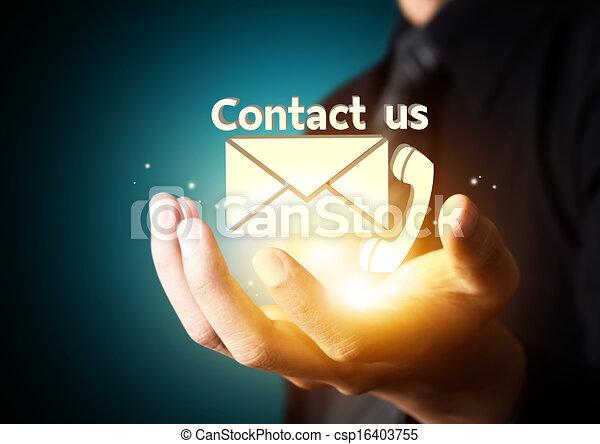 symbol, kontakt oss, affär, hand - csp16403755
