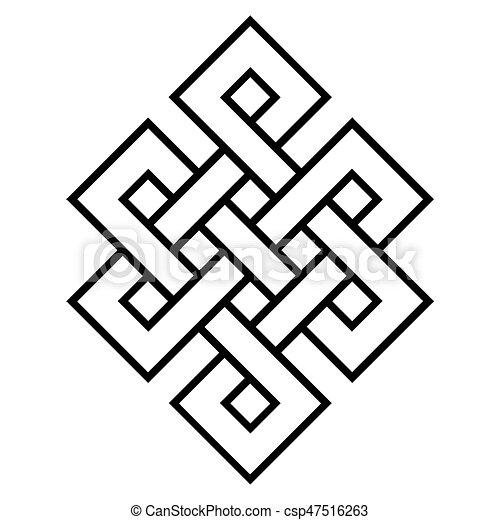 Symbol Kulturell Buddhismus Knoten Endlos Om Summen Symbol