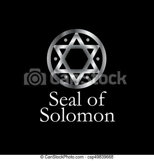 symbol, magisch, hexagram, siegel, solomon-, oder - csp49839668
