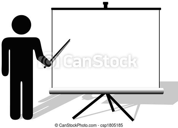 Symbol man points to copyspace on presentation on movie screen - csp1805185