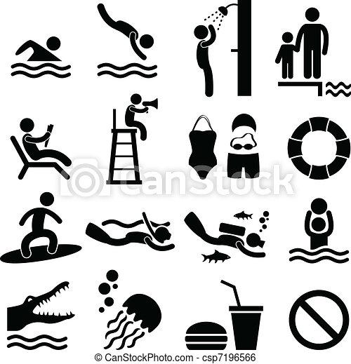 symbol, morze, pływacki, plaża, kałuża, ikona - csp7196566