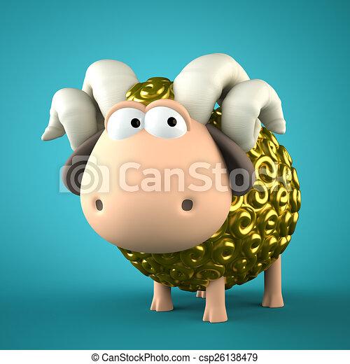 Symbol of 2015. Gold Sheep on blue background. Illustration of 2 - csp26138479