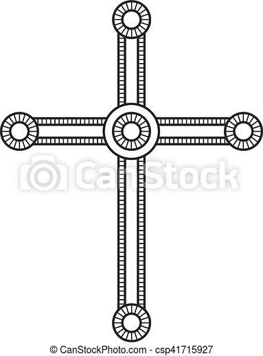 Symbol Of A Church Cross Christianity Religion Symbol Line