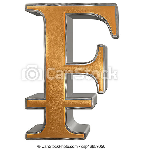 Symbol Of French Franc Isolated On White Background 3d Stock