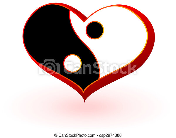 Symbol Of Heart With The Chinese Symbolics Of The Mans And Female