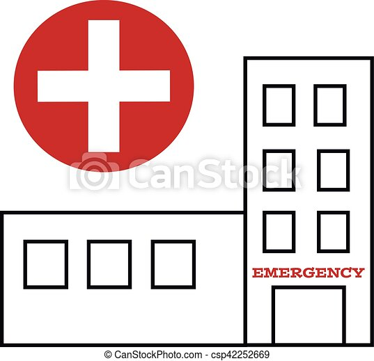 Symbol Of Hospital Buildings With Cross Vector Illustration