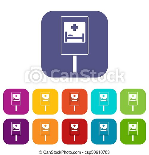Symbol Of Hospital Road Sign Icons Set Illustration In Flat Style In