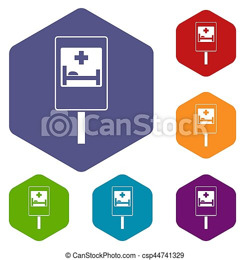 Symbol Of Hospital Road Sign Icons Set Rhombus In Different Stock